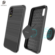 Half-wrapped Case for Huawei P20 Original Soft Carbon Fiber Brushed Cover 5.8 inch TPU Magnetic Holder Protective Phone Bag