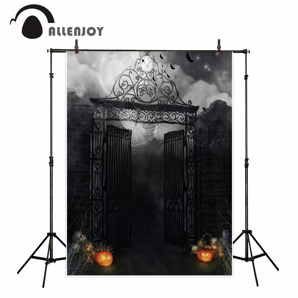 Allenjoy Halloween dark night party photography backdrops smokey black mist foggy iron gate pumpkin spooky photo backgrounds