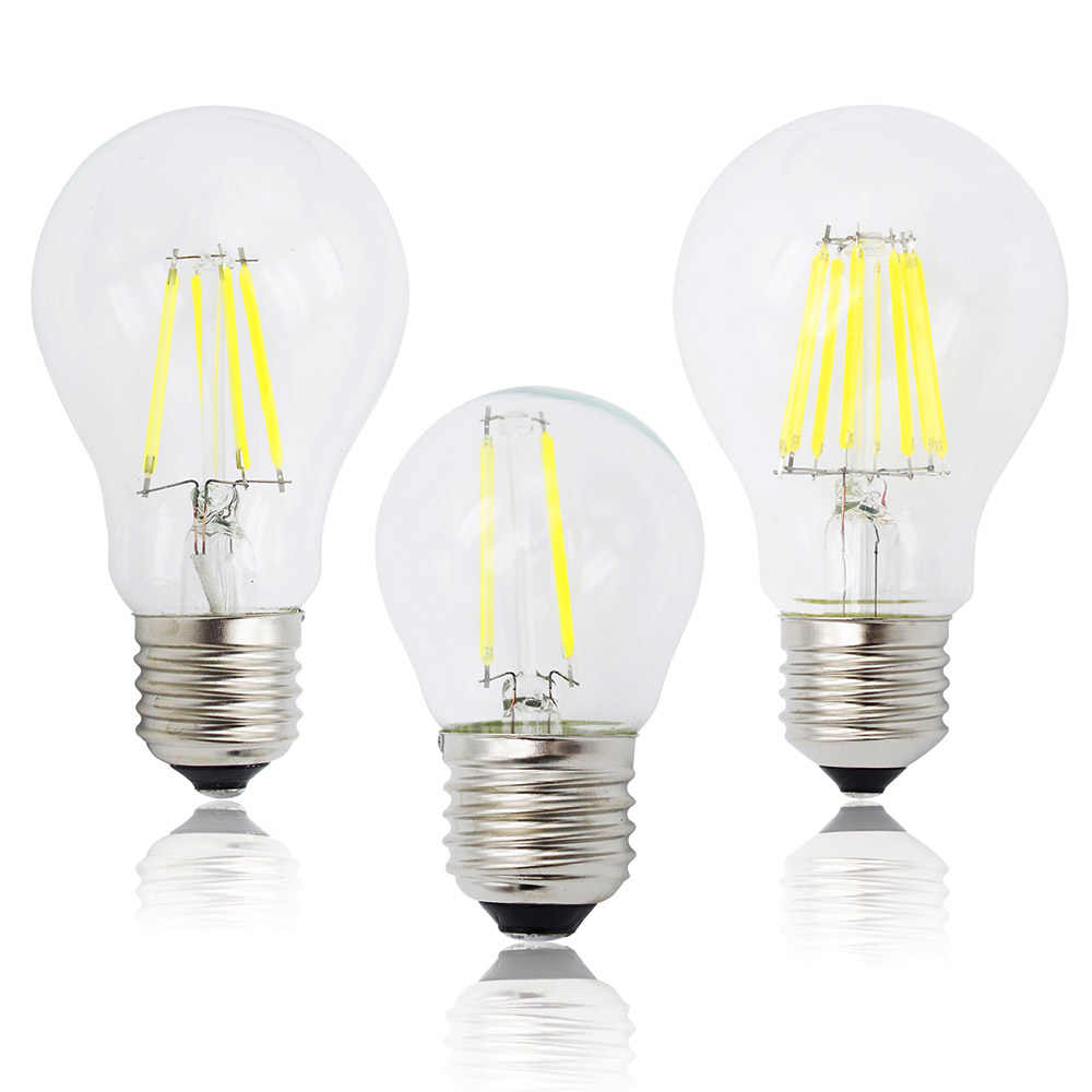 Edison Retro E27 Glass Lamp A60 LED Filament G45 Dimmable Candle AC 220V 240V Bulb Replace 20W 40W 60W Halogen Light Chandeliers