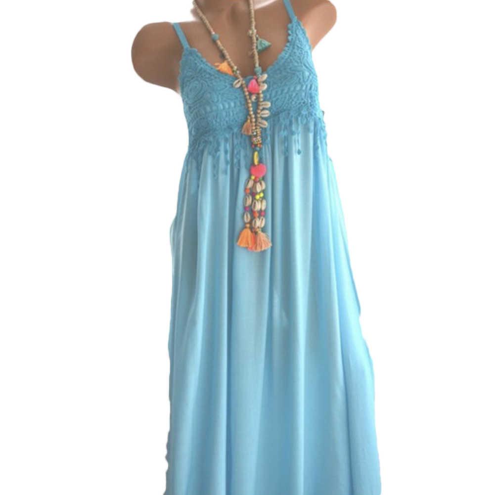 סקסי נשים הקיץ ללא שרוולים תחרה פרחים מוצק צבע נוח Midi שמלה