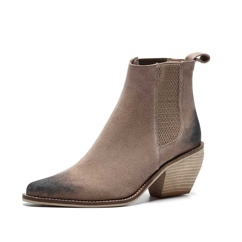 2019 primavera nueva moda concisa botas de tobillo para mujer de tacón alto grueso deslizamiento en bombas de cuero genuino negro martin botas las mujeres