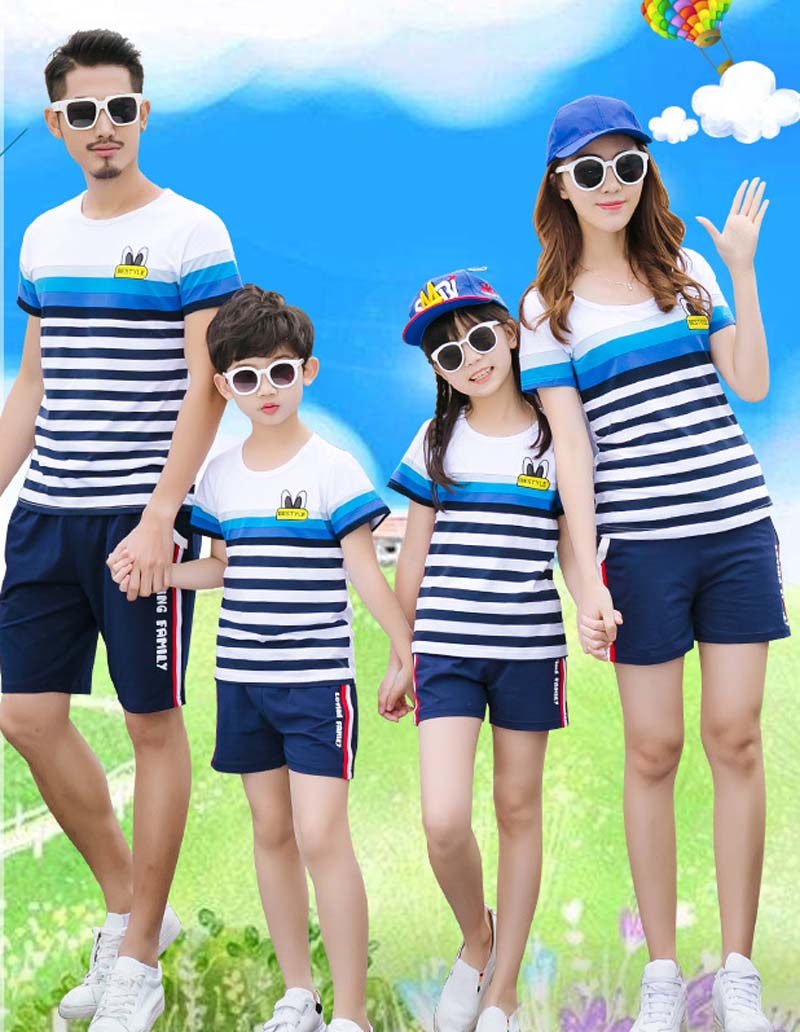 Family Matching Striped T Shirt and Shorts | Father Son Mother Daughter Clothes Set