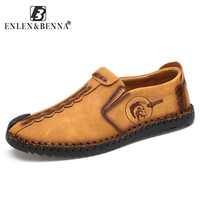 Brand Fashion Comfortable Men Shoes Slip On Solid Leather Shoes Men Causal Huarache Hot Sale