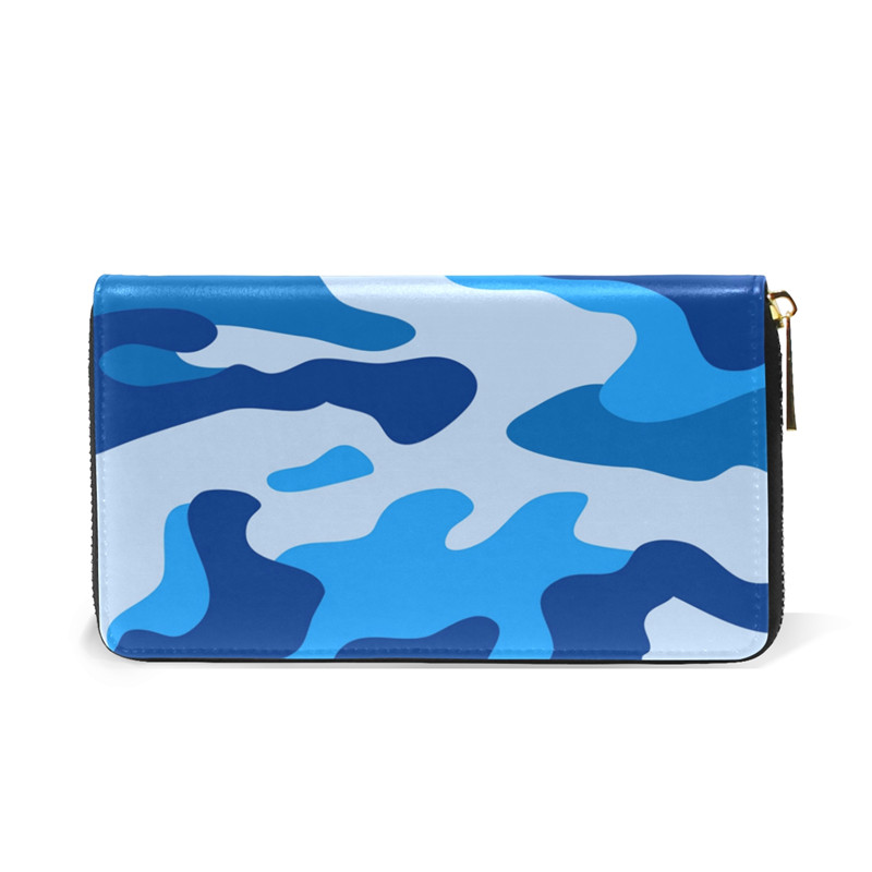 Men Wallet Blue Camouflage Wallet Gift for Women Girls Wallet Long Clutch New Design Lady Love Sweet Wallet for Girl Boy Friend