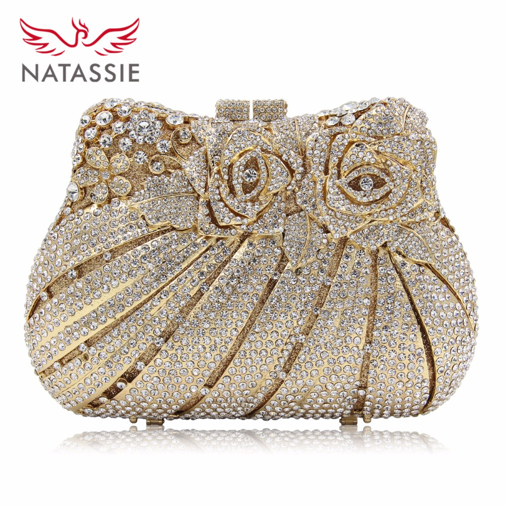 NATASSIE Women Clutch Bag Rose Flower Crystal Evening Bags Party Gold Wedding Clutches luxury crystal clutch handbag women evening bag wedding party purses banquet