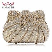 March 2016 New Women Rose Flower Crystal Clutch Handbag For Wedding Party Lady Evening Bag Gold