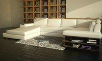 Beauterful Biała Sofa z prawdziwej skóry Darmowa Wysyłka Nowoczesna Sofa Zestaw z półce W Kształcie Litery U Settee praktyczne salon sofa