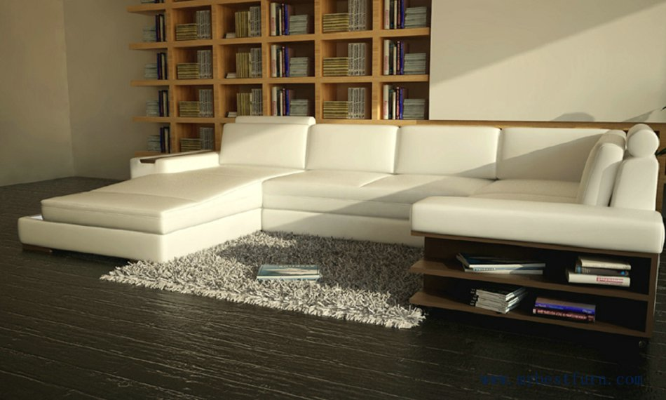 brand new bf79b 2b92e US $2299.0 |Beauterful White Sofa with real leather Free Shipping Modern  Sofa Set with bookshelf U Shaped practical living room Settee sofa-in  Living ...