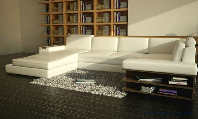 Beauterful White Sofa With Real Leather Free Shipping Modern Sofa Adorable Bookshelves Living Room Set