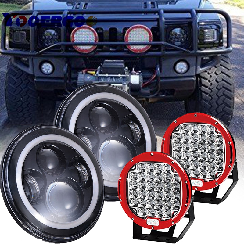 7'' LED Headlight Amber Signal Turn Light 9 inch work light Kit for Jeep Wrangler JK faduies 2psc amber front led turn signal light assembly for 2007 2016 jeep wrangler jk turn lamp fender led light smoke lens