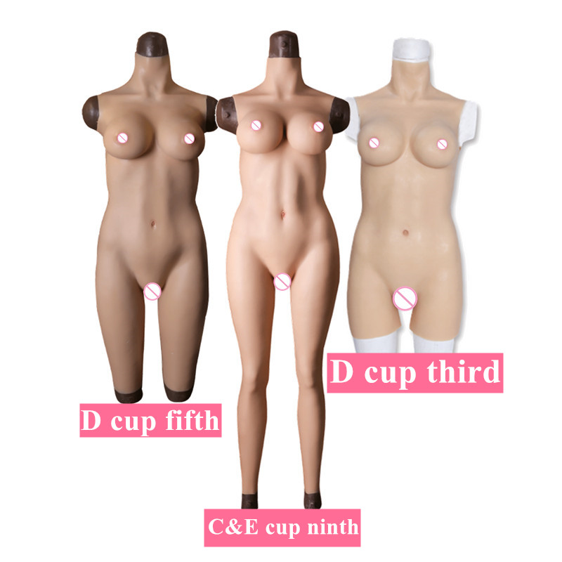 CDE Cup Full Silicone Tights Rubber Bodysuit Crossdress Male to Female Transsexual Cosply Transgender Fake Silicone Breast Form