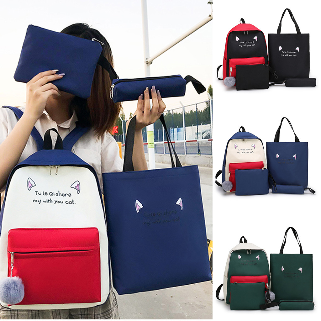 4 Pcs Women's 2019 New Four-Piece Cute Student Simple Backpack Set Tote Bag Pencil Case Sac A Dos Femme