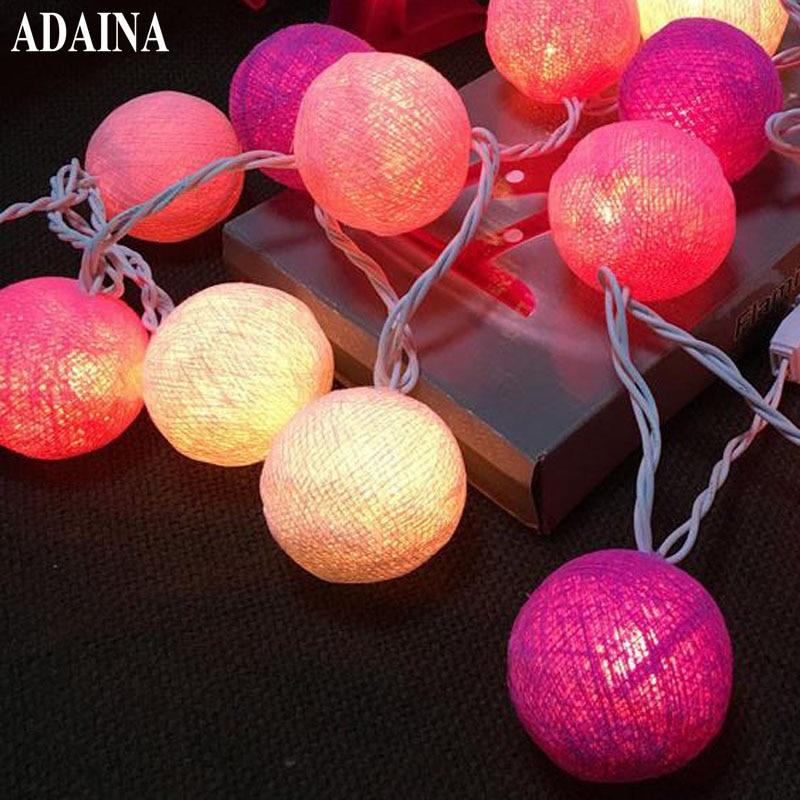 220 В 35 хлопок освещенные шары Рождество Фея Строка свет украшение дома праздники лампы гирлянда подсветкой Свадьба Luminarias