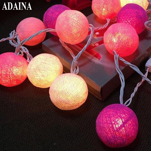 220v 35 cotton lighted balls christmas fairy string light home decoration fiestas lamp garland strip lighting