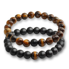 2 Pcs/set Fashion Couple Tiger Eye Stone Bracelets Bangles Classic Black White Natural Lava Stones Charm Bead Bracelet Women Men(China)