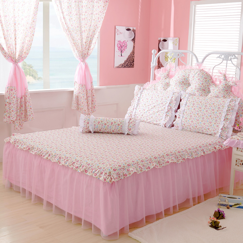 Pink Blue Yellow Lace Bed Skirt Twin Full Queen King Cotton Bed