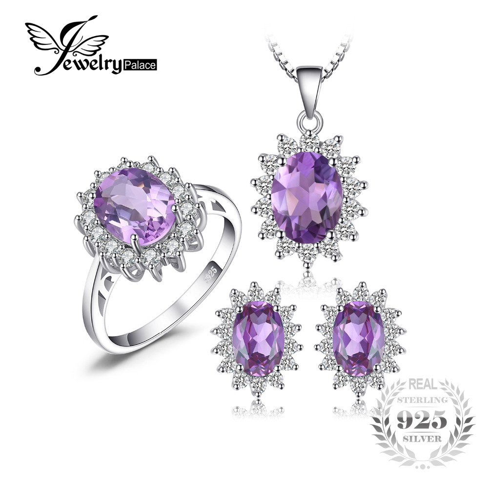 JewelryPalace Princess Diana Jewelry Set William Engagement Wedding Alexandrite Created Sapphire Jewelry 925 Sterling Silver jewelrypalace princess diana jewelry engagement wedding created emerald jewelry 925 sterling silver ring pendant earring