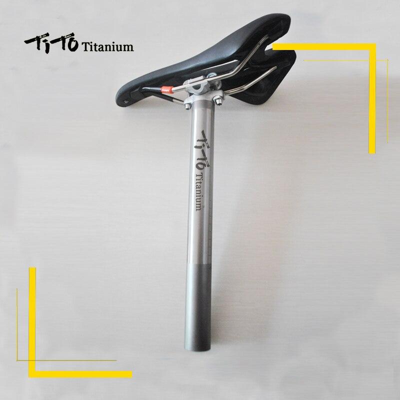 TiTo Titanium alloy Bike seatpost for MTB/Road bicycle seat post 27.2/30.9/31.6mm*350mm titanium seat tube Aluminum head bicycle seatpost 31 8 580mm for brompton yr yt folding bike aluminum seat post 345g bike parts