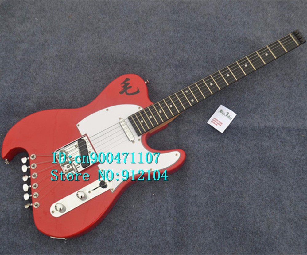 new customized Big John headless electric guitar in red with mahogany body + free shipping F-3103 lucky john croco spoon big game mission 24гр 004