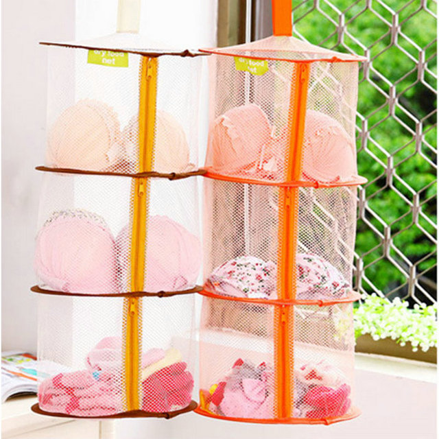 b3f51c00ef4 3 Shelf Tier Zipped Hanging Mesh Bra Underwear Socks Toys Storage Net  Organizer