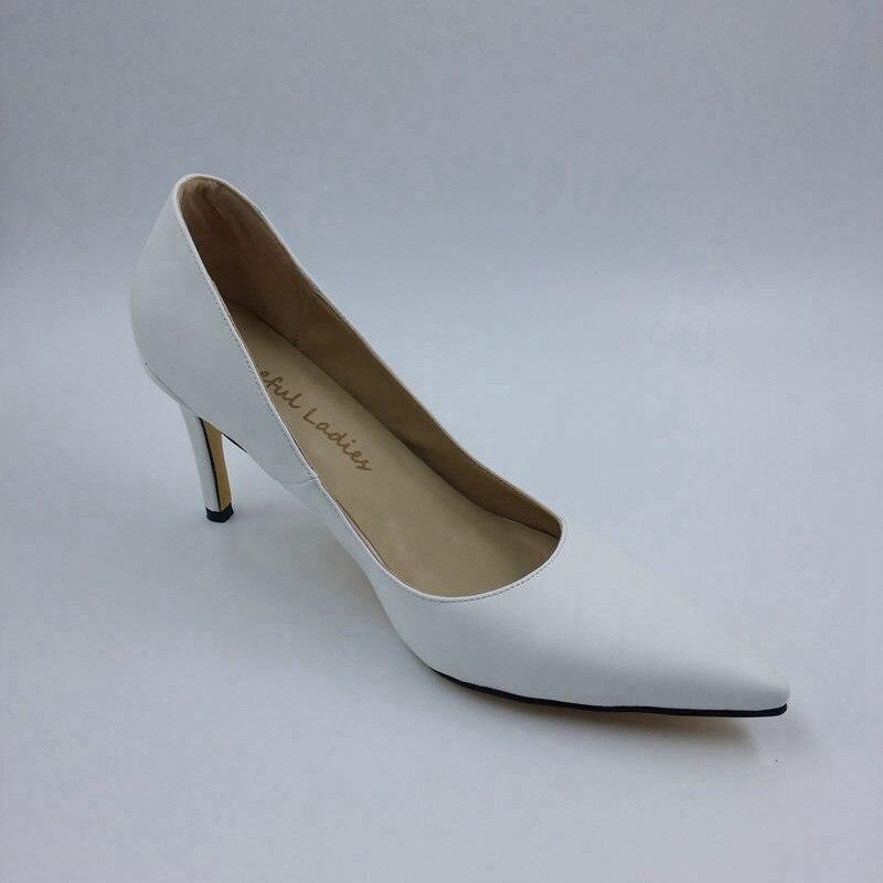 Mujeres 2016 Mujer Delgada Superficial Blanco Oficina Zapatos Vestido Resbalón Verano En De Las Básica Madura Tacón Punta Trabajo Alto Nueva IpwTqp41