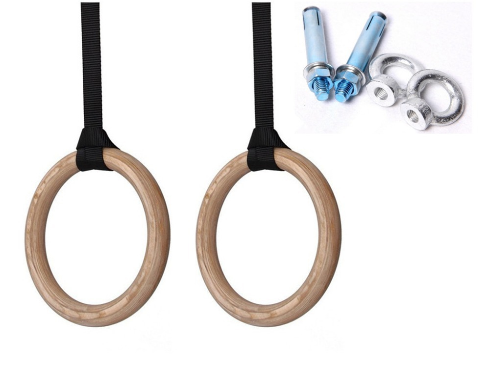 wooden gymnastic fitness rings contain expansion bolt for shoulder strength physical muscle training gym crossfit for wholesale gymnastic rings crossfit gym for upper body strength fitness and bodyweight excercising
