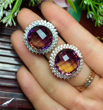 KJJEAXCMY fine jewelry S925 pure silver inlay purple and yellow crystal cut lady ring s925 pure silver wholesale contracted only beautiful lady topaz st2018 set of chains pure and fresh and euphemism