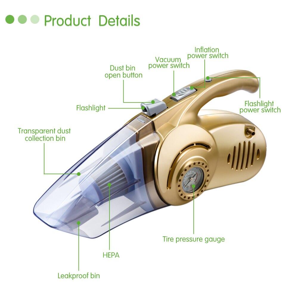 Aspirateur de voiture 120W Multi-fonction, Mini compresseur air, Lampe torche