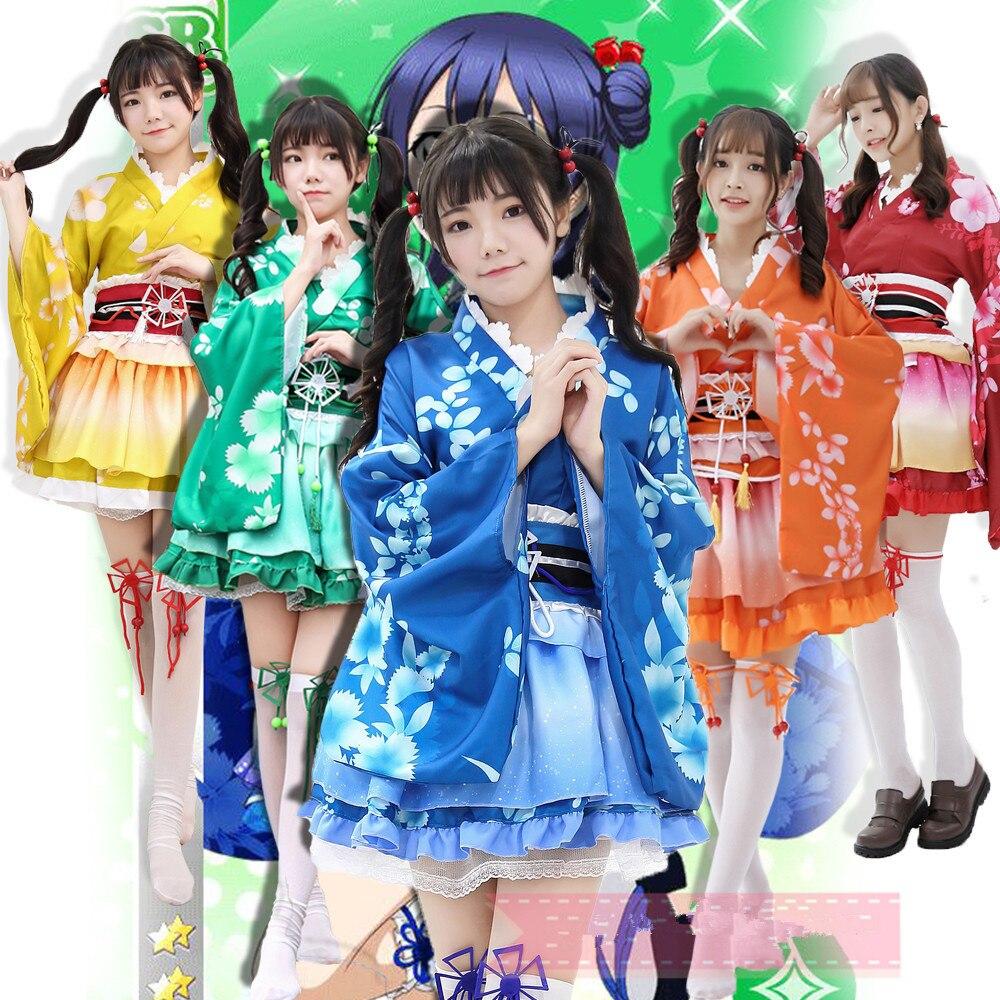 love live Yazawa Nico Takami Chika cosplay costume set kimono bathrobe Lovely cos blue green red