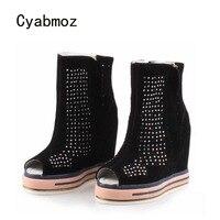 Cyabmoz на танкетке со стразами на высоком каблуке открытый носок Женская обувь zapatos mujer Tenis Feminino Высота обувь со скрытым каблуком