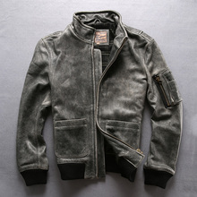 Man Genuine Leather Jackets Vintage Cow Skin A2 Pilot Genuine Leather Coats Free Shipping cheap Leather Suede DAYDAYFASHION Cow Leather Short Full STANDARD NONE Slim Casual COTTON Zippers Pockets 1288 Mandarin Collar