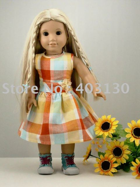"""Checked Party Dress fits 18"""" American Girl Doll Clothes 1036"""