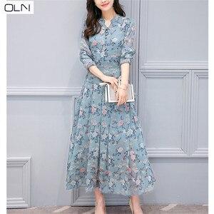 Image 2 - ฮ่องกงสไตล์ 2019 ฤดูใบไม้ผลิใหม่เกาหลีรุ่นของบางพิมพ์ยาวแขนยาวชุดชีฟองดอกไม้