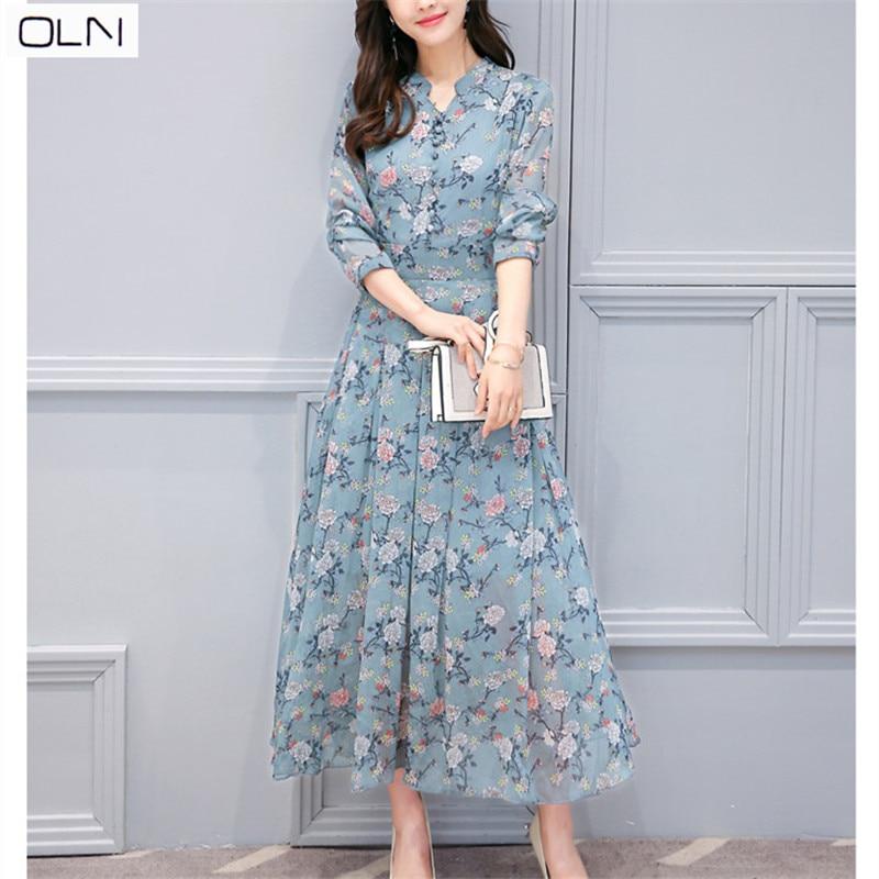 Hong Kong style 2019 printemps nouvelle version coréenne de la robe florale à manches longues en mousseline de soie imprimée mince