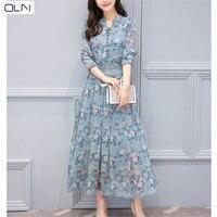 Hong Kong style 2019 spring new Korean version of the thin printed long sleeved long chiffon floral dress