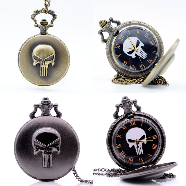 Vintage The Punisher Skull Dial Roman Numeral Quartz Pocket Watch Analog Pendant