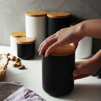 Ceramic Wood Lid Storage Bottle Jar Kitchen Food Coffee Tea Pot Seasoning Sealed   Desktop Decoration 2