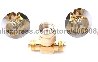 50pcs Copper SMA Male to 2 Double SMA Female Plug Adapter T Adapter