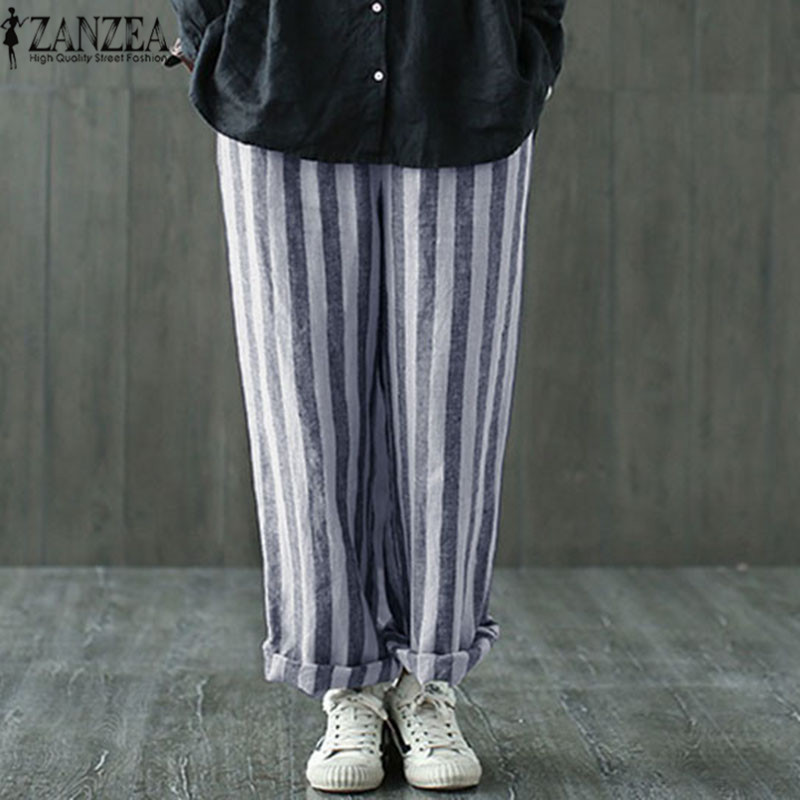 ZANZEA Summer Pantalon Large Femme 2018 Trousers Women Long Pants Casual Striped Harem Pants Wide Leg Pants Plus Size S-5XL