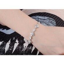 LUKENI Top Quality 925 Silver Women Bracelets Accessories Cute Clear Crystal Flower Fashion Girl Anklets Jewelry Lady Bijou Hot