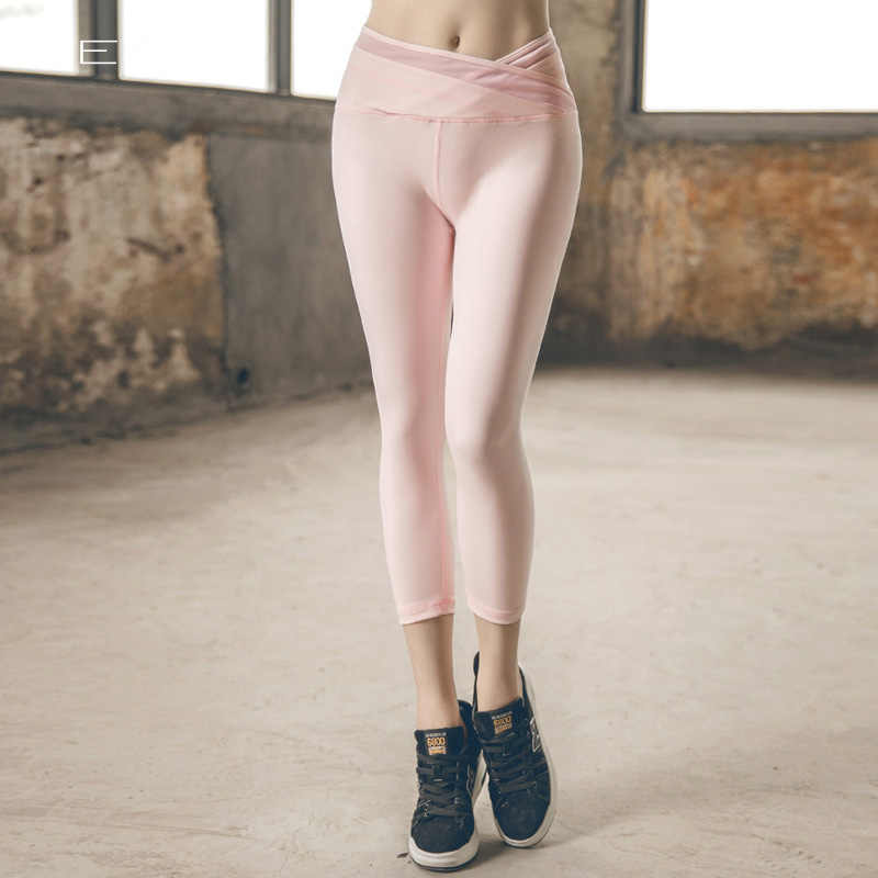 6214fc9461e06 Women Pattern Leggings High Waist Elastic Sport Cropped Quick Dry Gym  Running Tights Fitness yoga sport