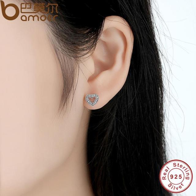 Sterling Silver Heart Shape Stud Earrings