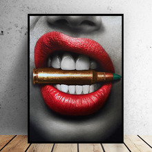Wall Art Prints Posters Sexy Red Lips Bite