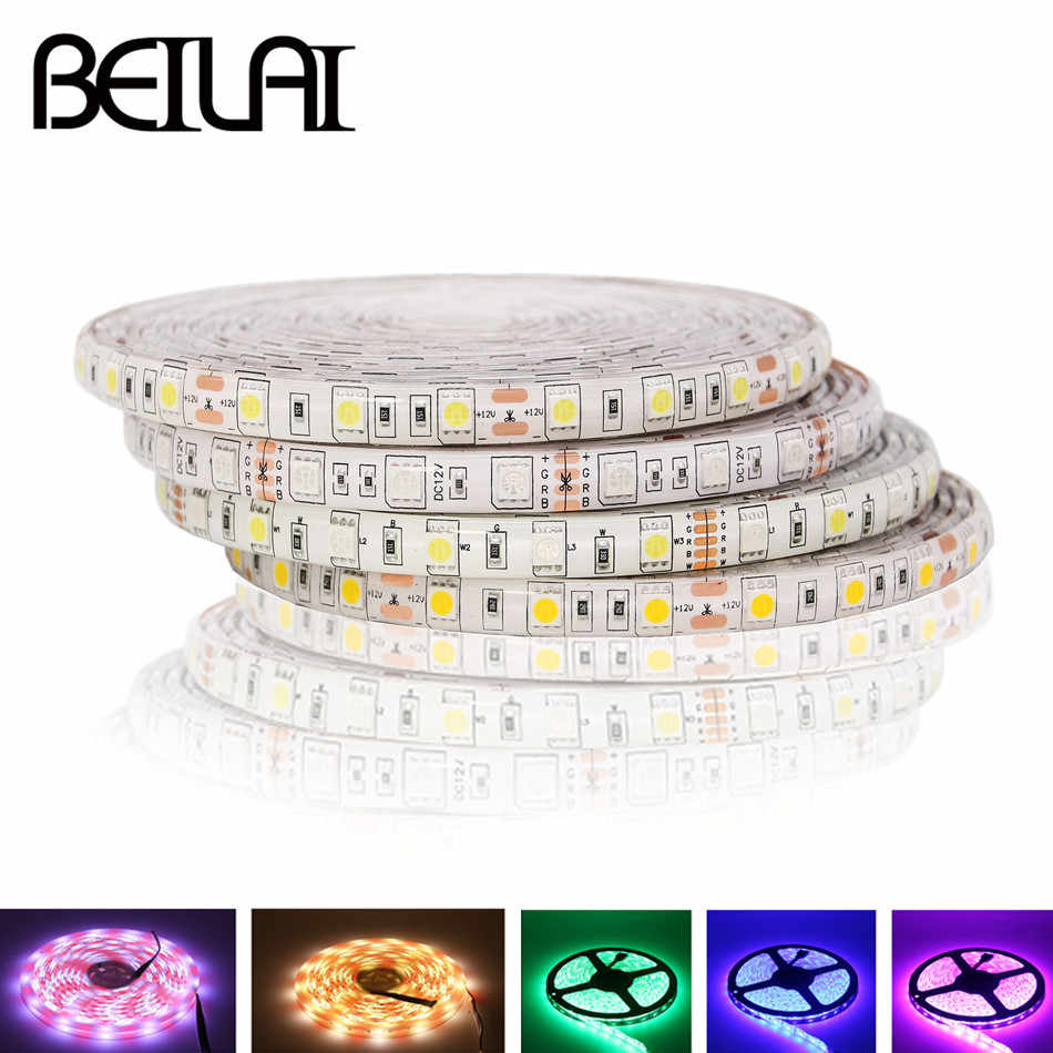Beilai SMD 5050 RGB LED Strip Tahan Air 5M 300LED DC 12V RGBW Rgbww Fita Lampu LED Strip Flexible neon Tape Luz Monokrom