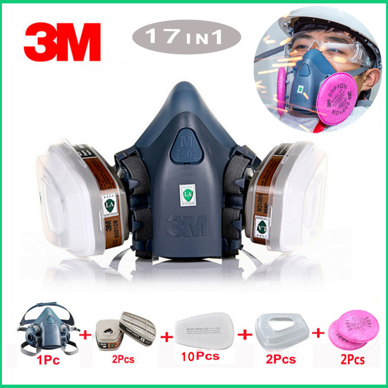 3M 7502 gas mask 17 in 1 spray paint chemical organic gas protection 6001/2091 filter for decoration dust protection3M 7502 gas mask 17 in 1 spray paint chemical organic gas protection 6001/2091 filter for decoration dust protection