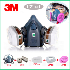 Image 1 - 3M 7502 gas mask 17 in 1 spray paint chemical organic gas protection 6001/2091 filter for decoration dust protection