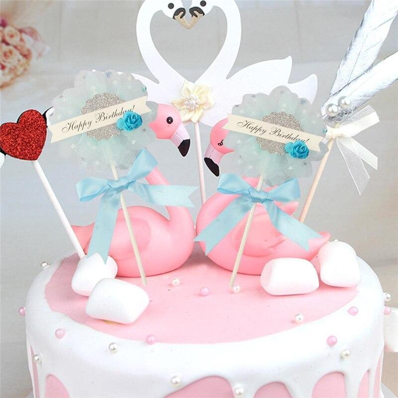 Bunga Simpul Busur Topper Kue Selamat Ulang Tahun Dekorasi Rumah Anak Perlengkapan Pesta Kertas Kue Topper Baby Shower Perlengkapan Perlengkapan Dekorasi Cake Aliexpress