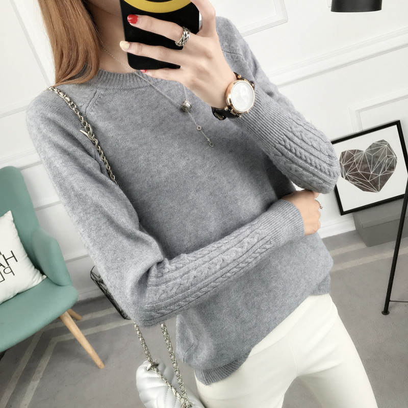 OHCLOTHING New Sweater Pullov Hitz Korean Women Loose  Sleeve Head Long Sleeved All-match Twist Thin Sweater Knit Female Backing