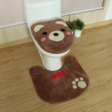 Cute Bear Warm toilet ring Warm Toilet seat cover Soft toilet lid cover Toilet seat cushion Non-slip carpet Bathroom mat cartoon frog style warm keeping flannel toilet mat cushion green