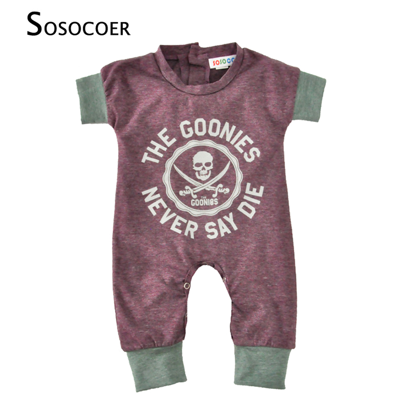 Newborn Baby Rompers Summer Cartoon Skull Boys Girls Jumpsuit For Infant Clothes 2017 New Short Sleeve Letter Kids Baby Romper cotton i must go print newborn infant baby boys clothes summer short sleeve rompers jumpsuit baby romper clothing outfits set